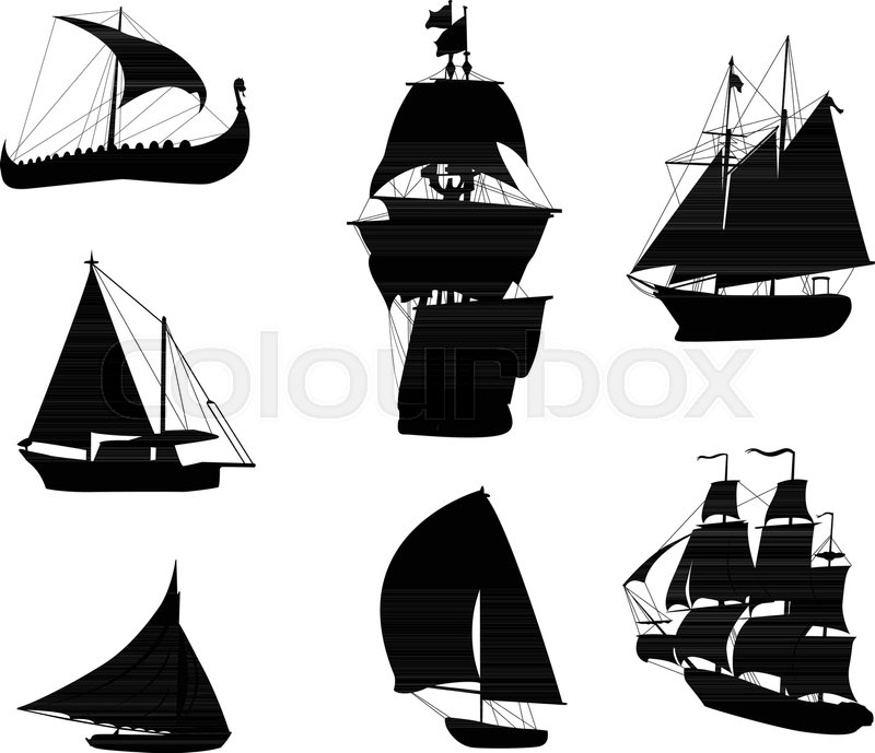 silhouettes of historic sailing ships stock vector colourbox