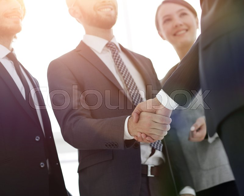 Business leader shaking hands with the investor .the concept of partnership, stock photo