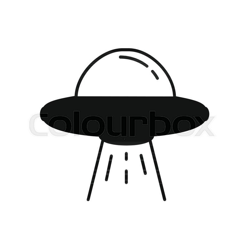 ufo spaceship icon in silhouette stock vector colourbox