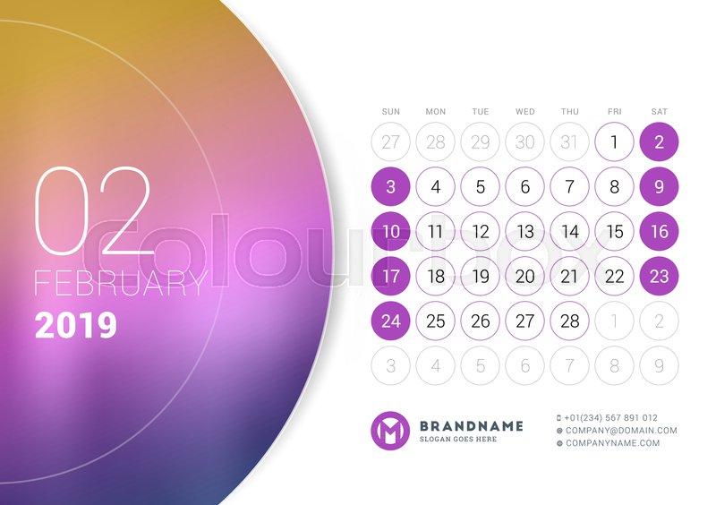February 2019 Desk Calendar For 2019 Stock Vector Colourbox