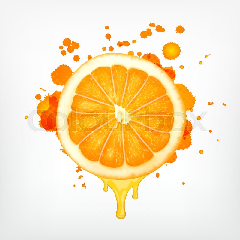 Orange slice with dripping juice and     | Stock vector