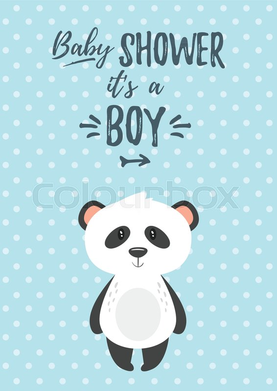 Vector cartoon style illustration of baby shower invitation baby vector cartoon style illustration of baby shower invitation baby boy celebration greeting card template cute panda on blue polka dot background filmwisefo