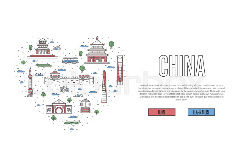 I Love China Poster With Famous Attractions In Heart Frame Asian