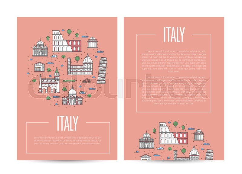 Italy Country Traveling Advertising With Famous Monuments Touristic