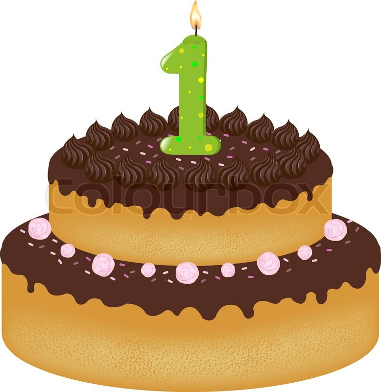Birthday Cake With Candles Number One Isolated On White Background Vector Illustration
