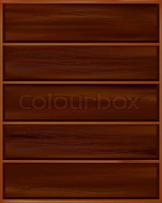 Superieur Bookshelf From Dark Wood With Shelves, Isolated On White Background, Vector  Illustration | Stock Vector | Colourbox