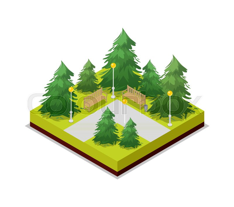 Park Road And Pine Trees Isometric 3d Stock Vector