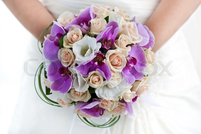 Brautstrauss Von Orchideen In Den Die Stockfoto Colourbox