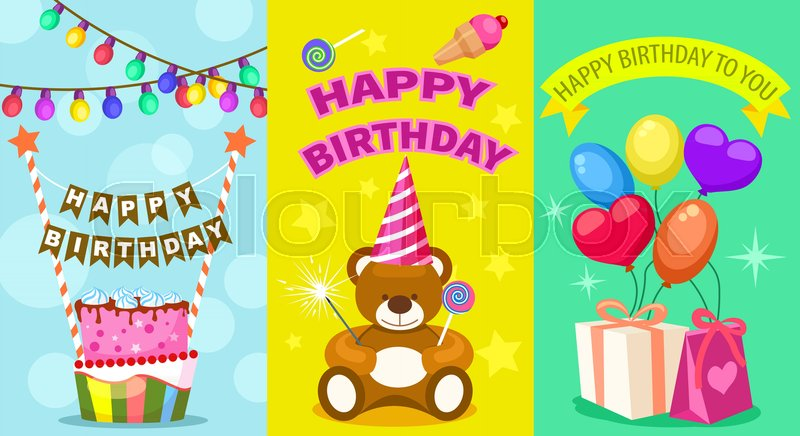 Happy Birthday Kids Postcard Set Holiday Congratulation Greeting