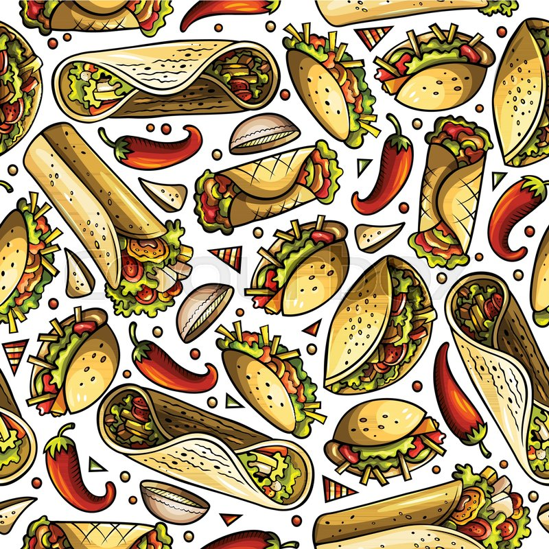 Cartoon Hand Drawn Latin American Mexican Food Seamless Pattern