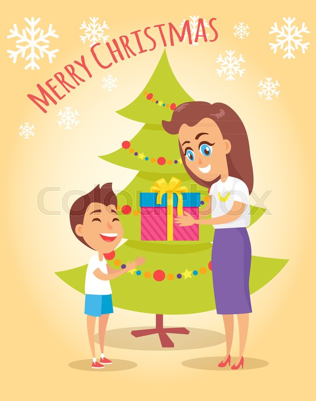 merry christmas poster with mother giving present to son near christmas tree on beige background with snowflakes holiday postcard with mom and boy stock