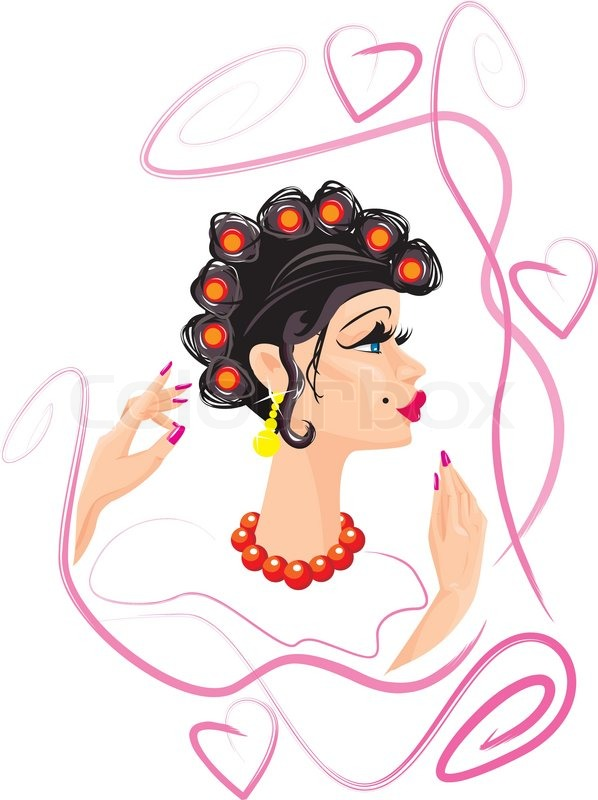 Funny woman cartoon with hair rollers stock vector