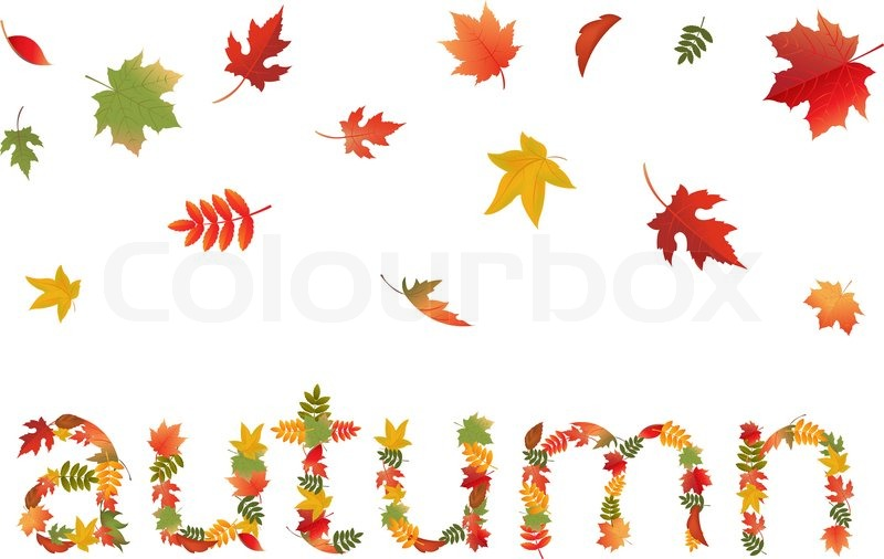 autumn leaves in form of word  isolated on white fallen leaves clip art fallen leaves clip art