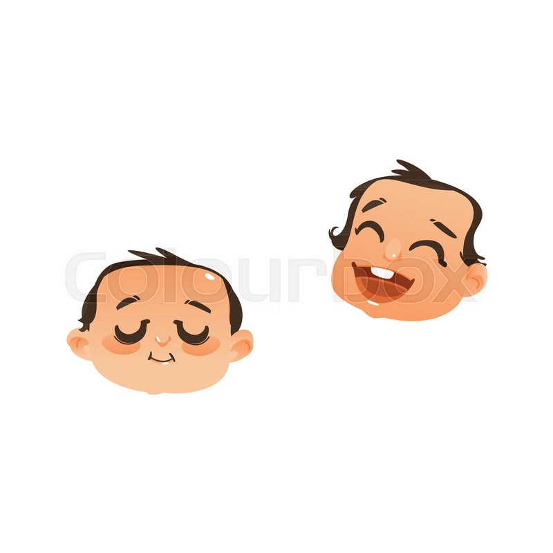 set of two baby face head icons sleeping and laughing flat