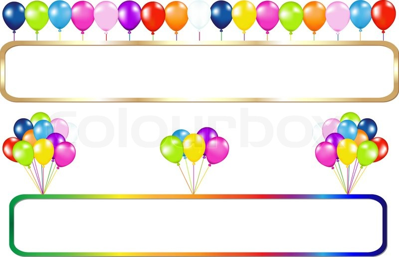 golden and colorful frame with balloons bunches isolated on white vector