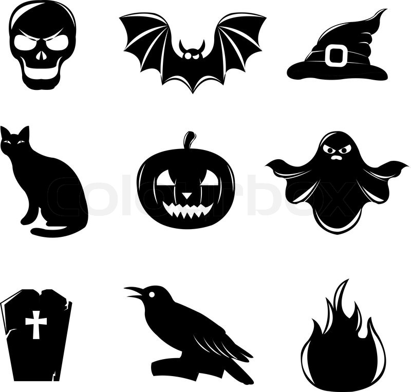 9 Black Halloween Icons, Isolated On White Background, Vector ...