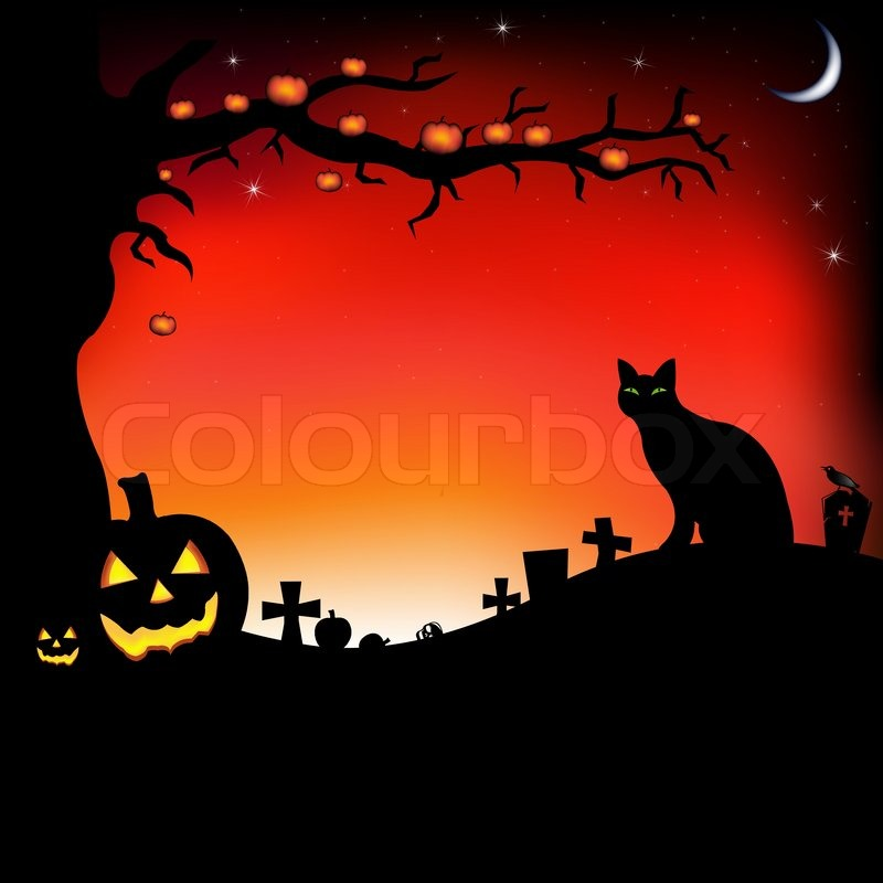 Halloween Illustration With Pumpkins, Black Cat, Cemetery And Raven, Vector  Illustration, Vector