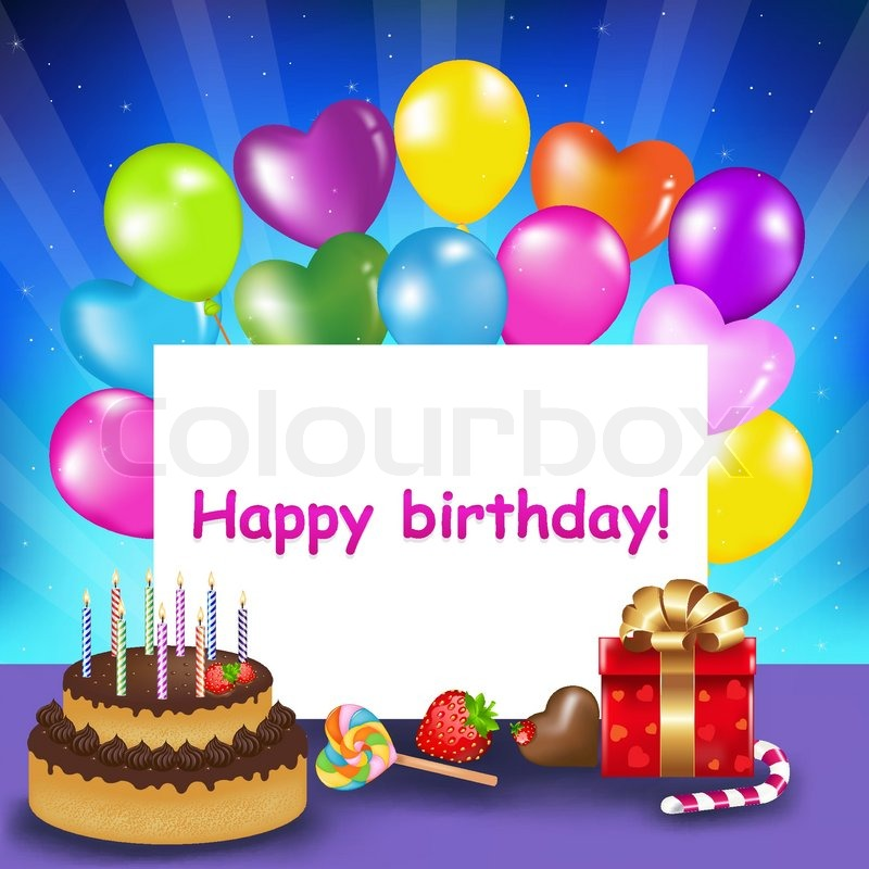 Decoration Ready For Birthday With Cake Candles Balloons Sweets And Gift Vector Illustration
