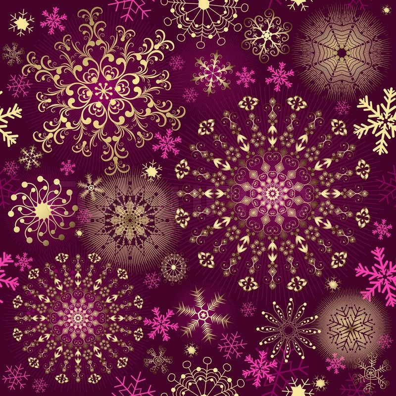 Christmas Purple Seamless Pattern With Gold And Pink Snowflakes Vector