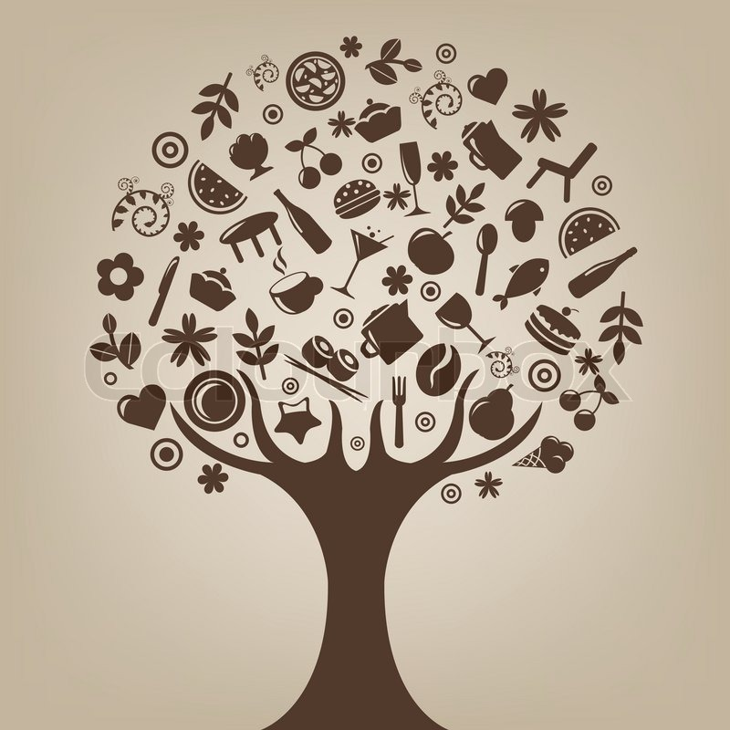 Brown Tree Made Of Products And Subjects Of Restaurant