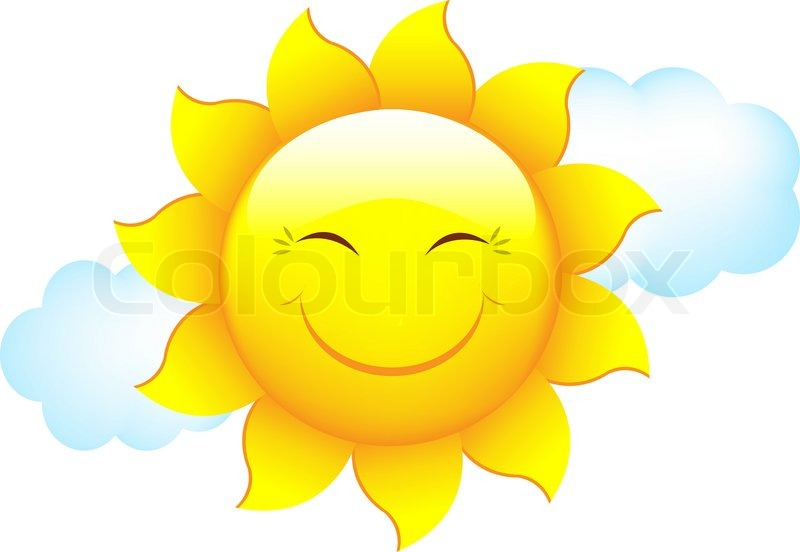 Cartoon Sun And Cloud, Isolated On White Background ...