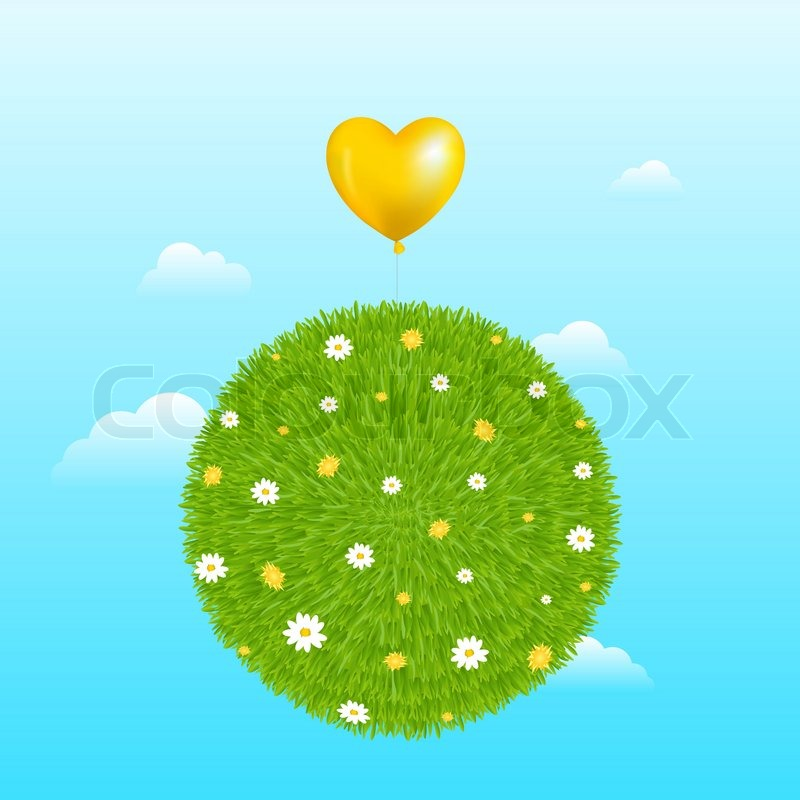 Grass ball with yellow heart shape balloon flowers and clouds grass ball with yellow heart shape balloon flowers and clouds stock vector colourbox mightylinksfo