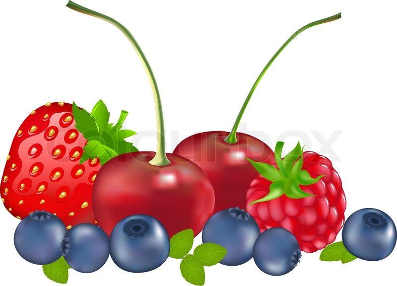 Cartoon Mixed Berries mixed berries raspberry, blueberry, strawberry ...