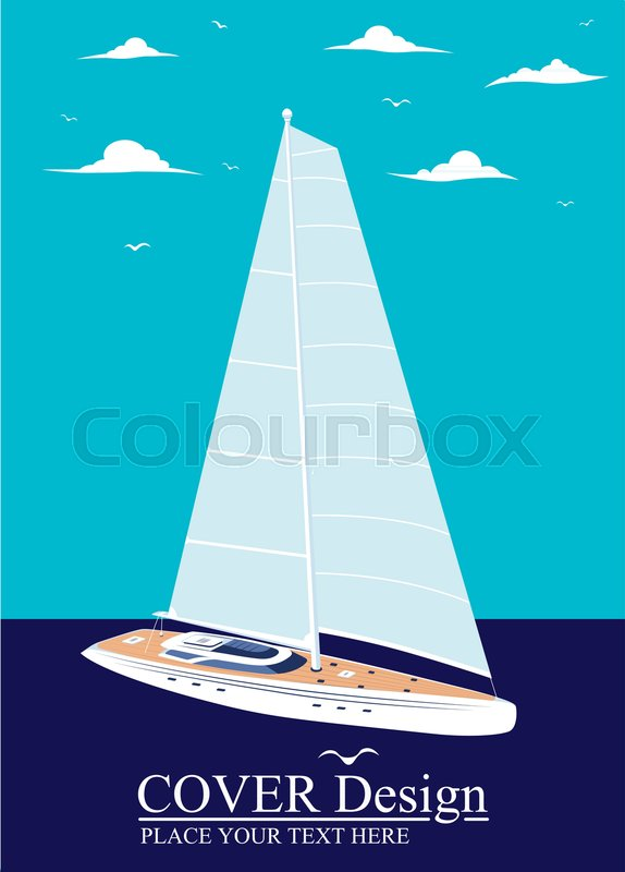 Yacht club flyer design with sail     | Stock vector | Colourbox