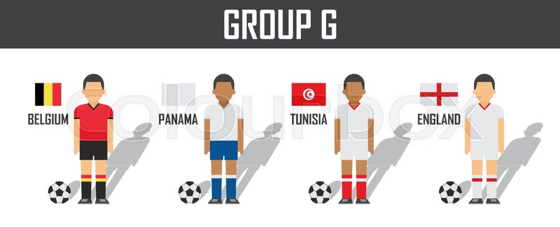 Soccer cup 2018 team group G . Football players with jersey uniform and national  flags . Vector for international world championship tournament  44a1b5891