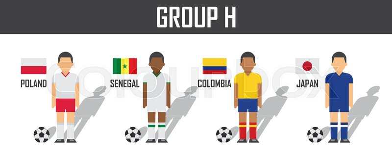 Soccer cup 2018 team group H . Football players with jersey uniform and  national flags . Vector for international world championship tournament  61111f754