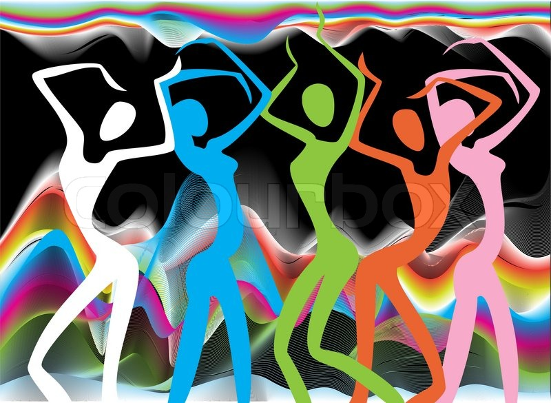 3175226 colorful stylized silhouettes of dancing girls at the carnival
