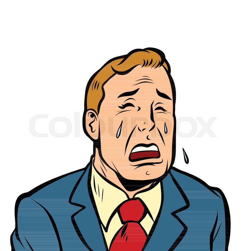 Funny man crying. Comic cartoon pop ...   Stock Vector ...