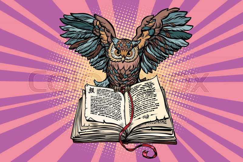 Owl On An Old Book A Symbol Of Wisdom And Knowledge Comic Book
