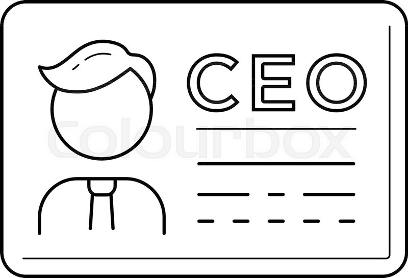 ceo business card vector line icon isolated on white background