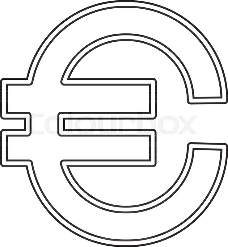Euro Sign Vector Line Icon Isolated On White Background Vector Line