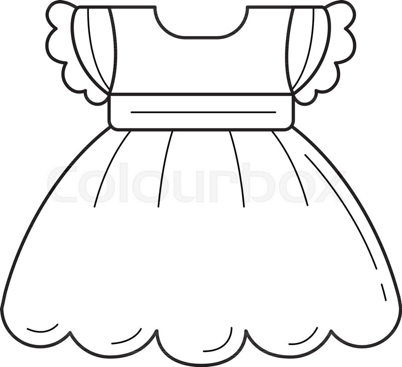 Vector Drawing Lines App : Child dress vector line icon isolated stock