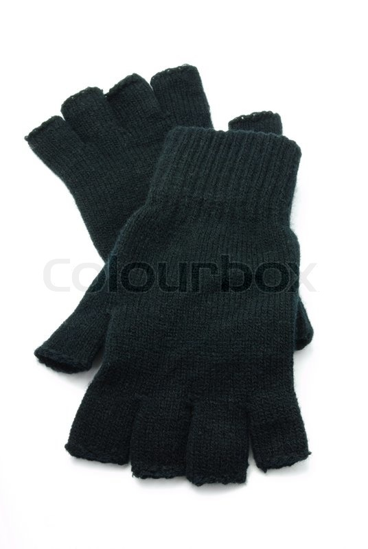 Knitting Gloves Without Fingers : Knitted black gloves without fingers on a white background