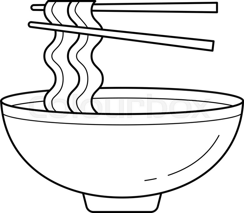 Bowl Of Noodles Vector Line Icon Stock Vector Colourbox