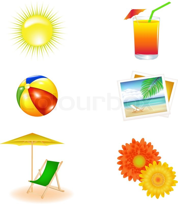 Royalty-Free Beach chair with umbrella and ball Clip Art Image