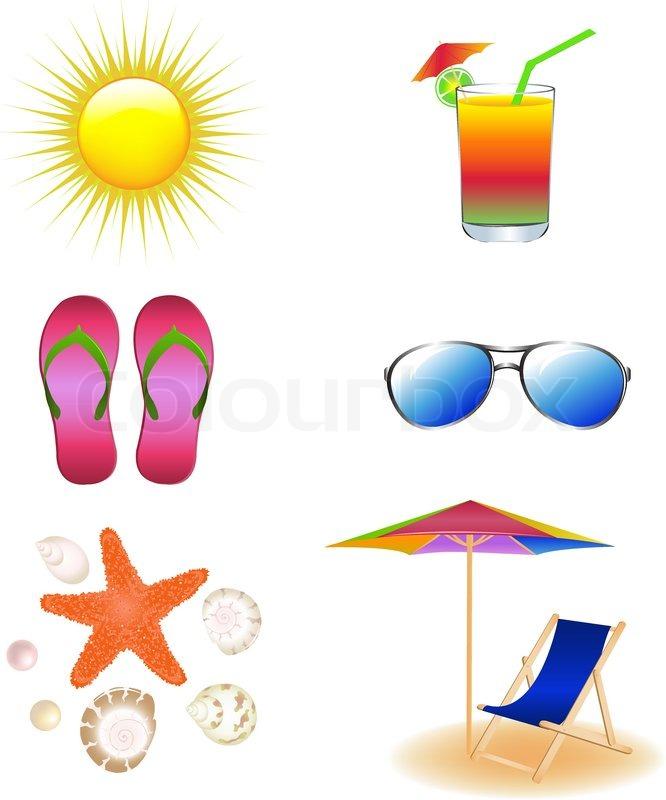 Sonnenschirm strand clipart  Vektor-Strand vom Chaiselongue, Sonnenbrille, Sonnenschirm ...
