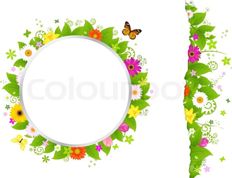 Circle And Border From Flowers Isolated On White Background Vector Illustration