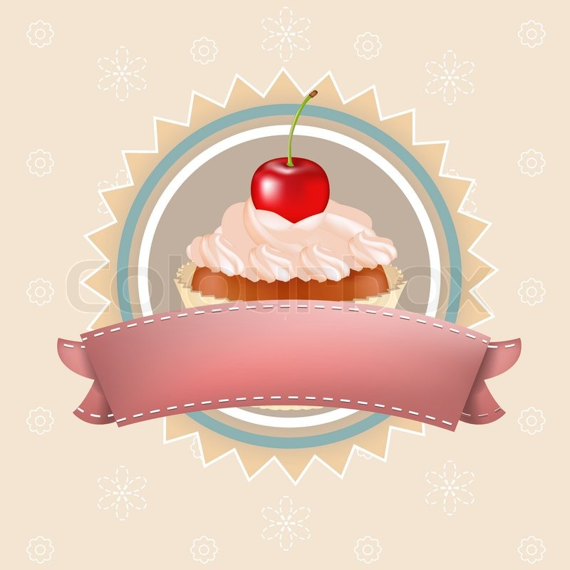 Cupcake With Cherry Vector Illustration Stock Vector