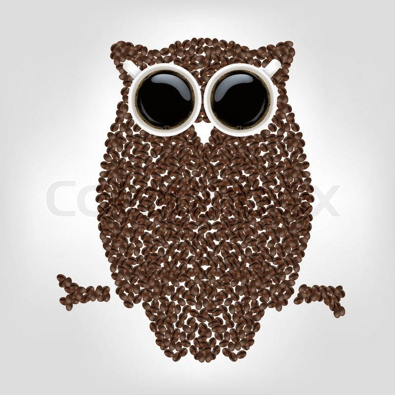 Owl From Coffee Isolated On Grey Background Vector