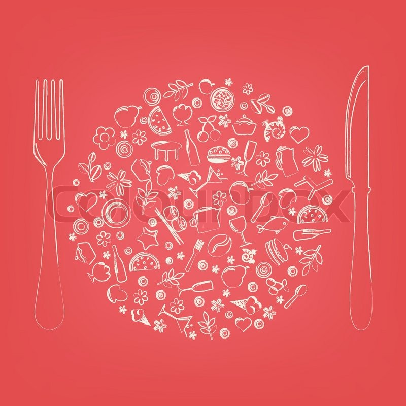 Restaurant Icons In Form Of Sphere Stock Vector