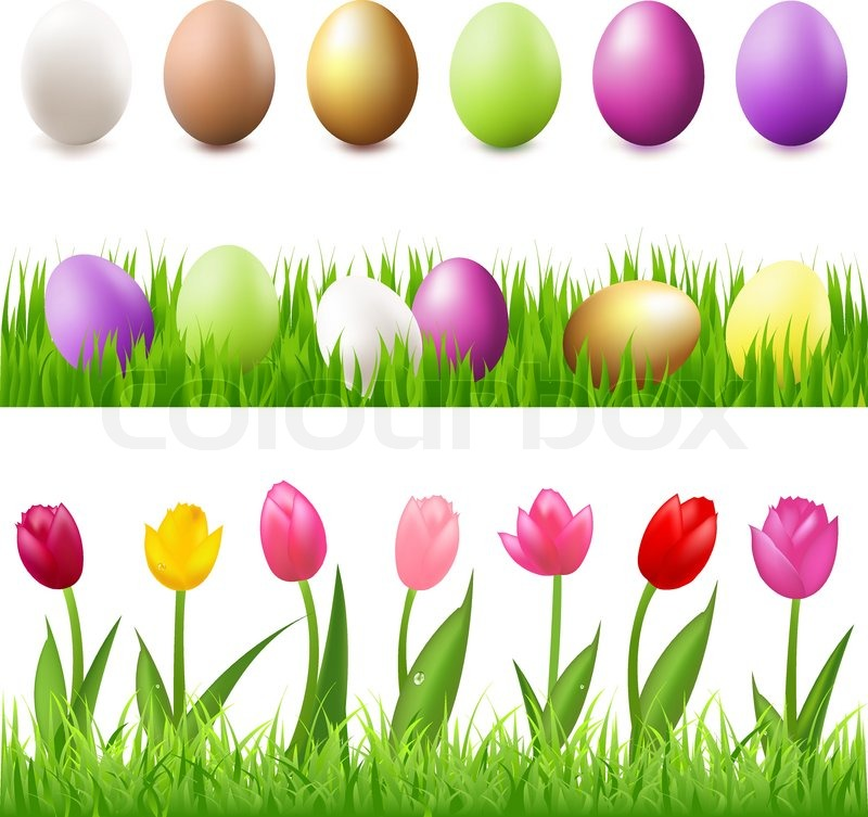 6 Easter Eggs In Grass And Panorama Isolated On White Background Vector Illustration