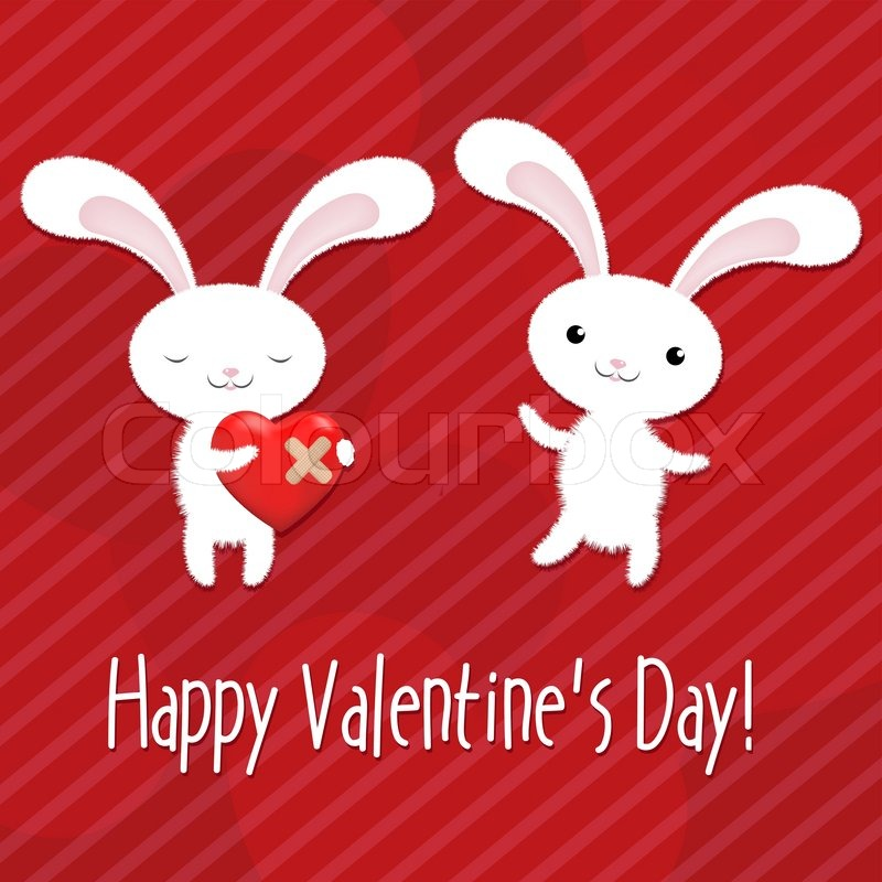 2 rabbits with hearts, valentines day greeting card, vector, Ideas