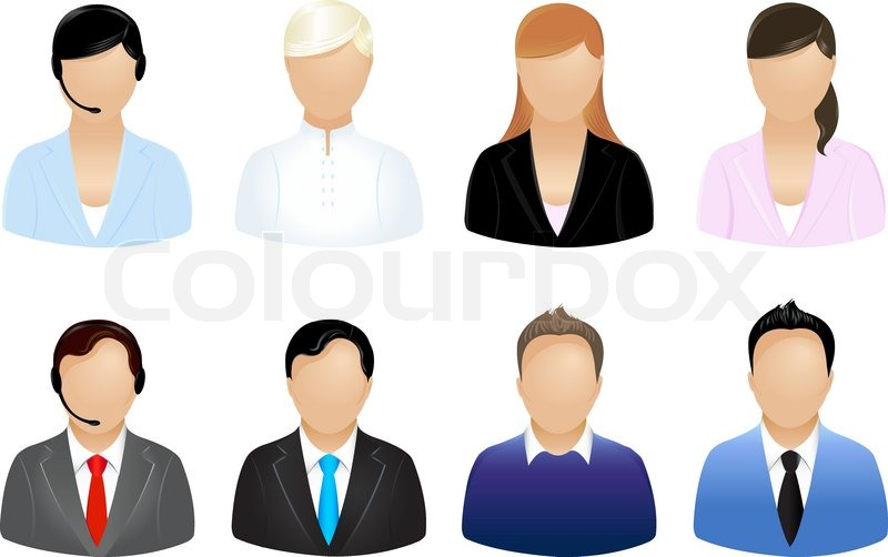 Stock-Vektor von 'Set Of Business People Icons, Isolated On White'