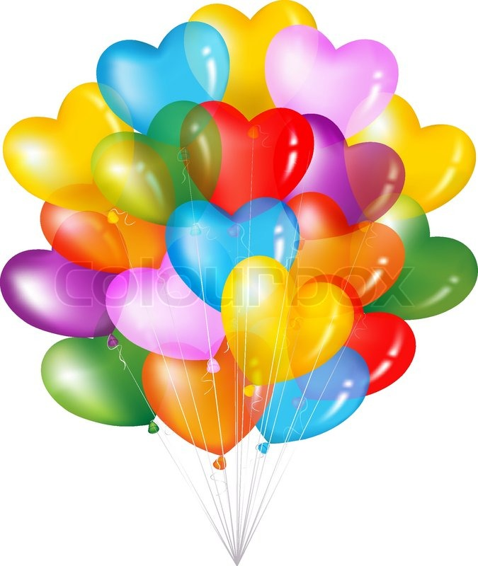 Bunch Of Colorful Heart Shape Balloons Isolated On White