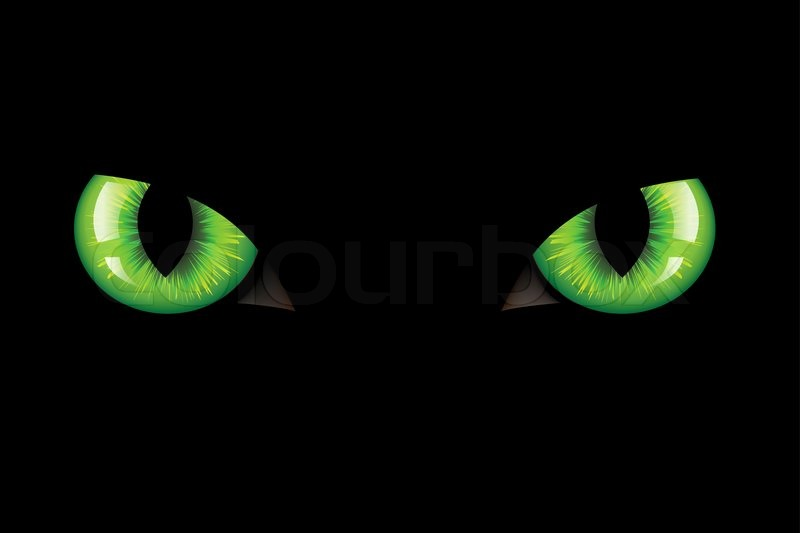 Green Dangerous Wild Cat Eyes, On Black Background, Vector ...