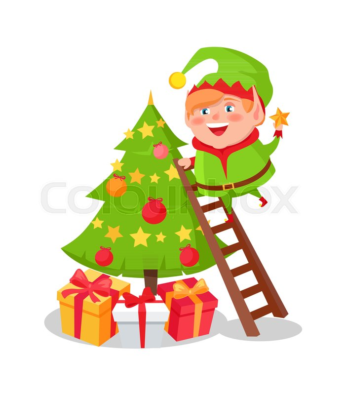elf cartoon character decorate christmas tree putting star on top standing on ladder many gift boxes and new year symbol vector illustration postcard